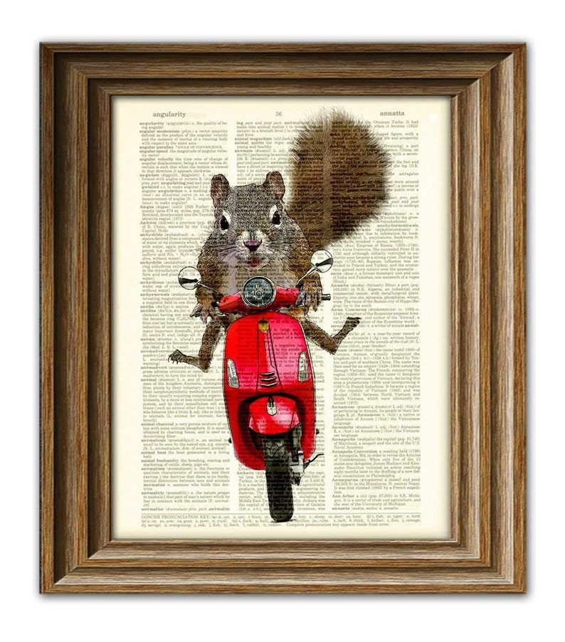 Scooter the Squirrel goes for a Moped ride Art Print image 0