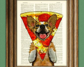 Pizza Corgi! Oregano the Welsh Corgi has the weirdest food dreams. Dog wearing a pepperoni pizza slice dictionary page book art print