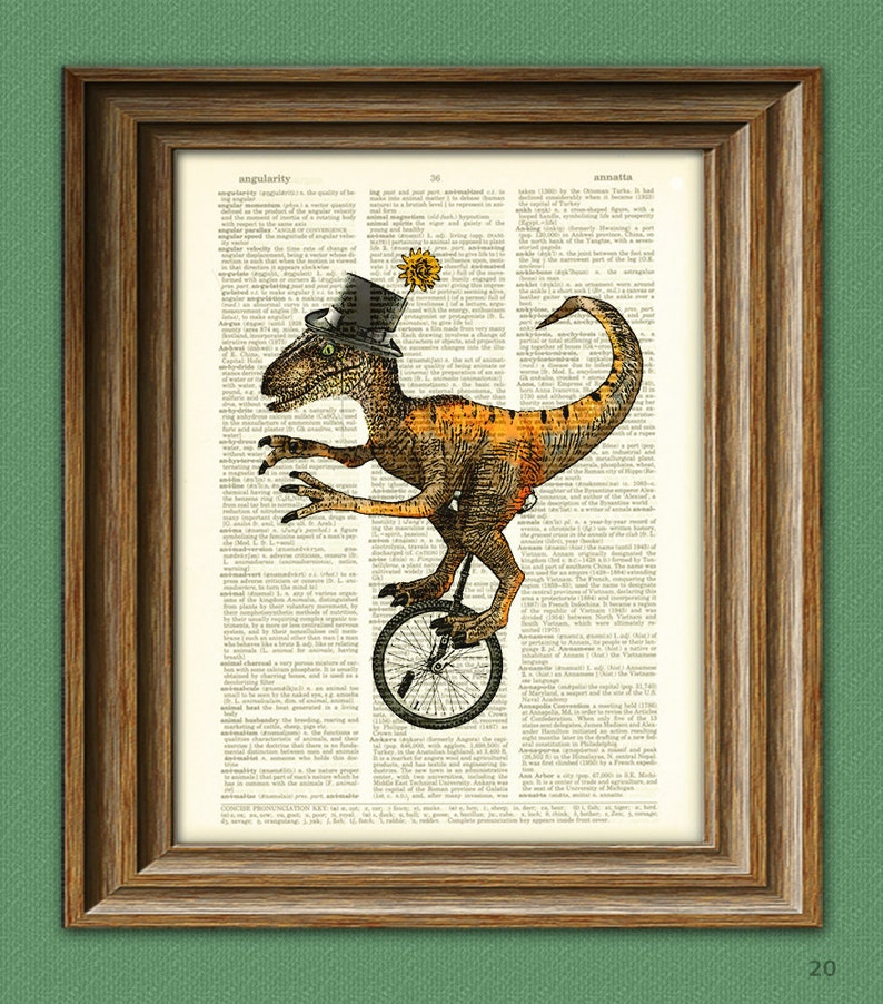 Dapper velociraptor on a unicycle with top hat and monocle image 0