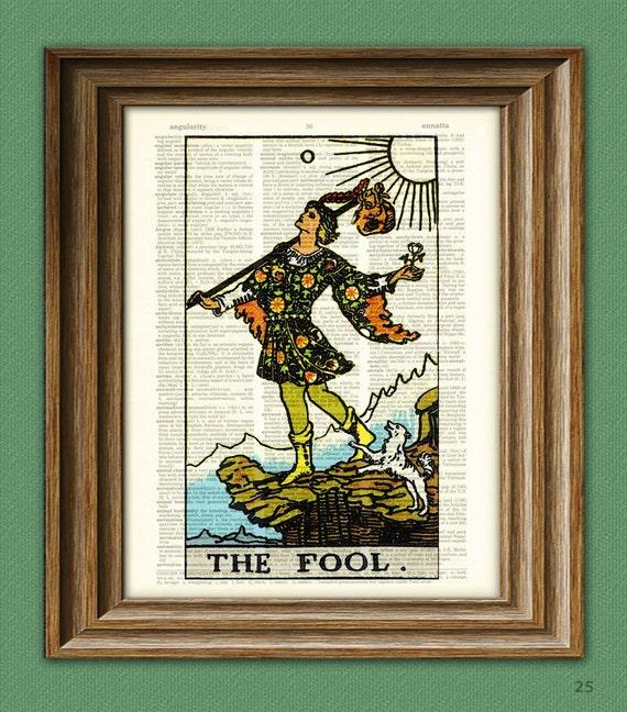 "Tarot Cards /""The Fool/"" Major Arcana Deck Dictionary Art Print Book Picture Wall"