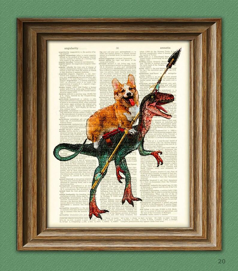 Cavedog the Corgi rides a Velociraptor Dinosaur dog original image 0