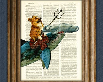 Aquadog the Corgi rides a Hammerhead shark dog original art vintage dictionary page book art print