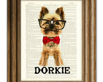 Dorkie the Yorkie Art Print Yorkshire Terrier dog beautifully upcycled vintage dictionary page book art print