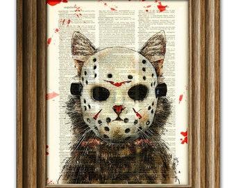 Cat Killer blood-splattered Slasher of Camp Kitty Lake Cat in hockey mask illustration dictionary page book art print