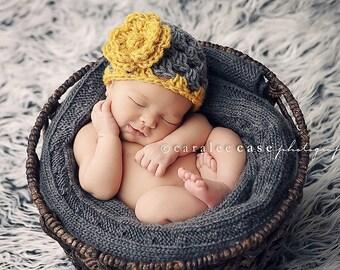 Baby Flapper Beanie in Mustard/Grey with detachable Crochet Flower