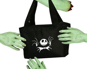 Voodoo Sugar Jack Skellington with Bat Tie NMBC Black Zippered Insulated  Cooler Tote Bag