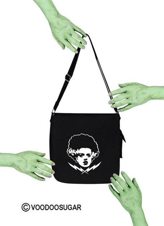 Mariée de sucre vaudou du monstre de Frankenstein avec boulons hommage noir besace