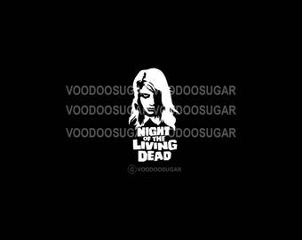 Voodoo Sugar Night Of The Living Dead tribute white vinyl decal