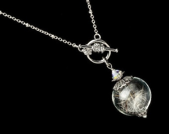 8d243fd66 Wish Necklace in Glass Orb with Silver Filigree, Real Dandelion Seeds, Swarovski  Crystal & Genuine Pearl, Wedding Jewelry, Gift For Her