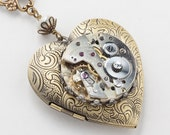Steampunk Necklace, Heart Locket with Vintage Silver Watch, Gears, Wire Wrapped Genuine Pearl Crystal Beads on Figaro Chain, Jewelry Gift