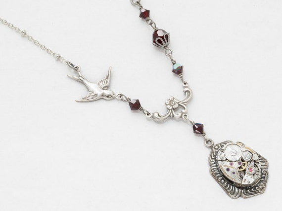 Steampunk Theme Mixed Metal Filigree Pendant Necklace w Gears Birds and Tree Charms