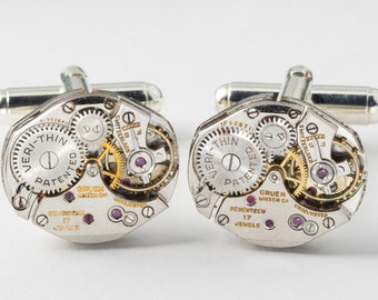 Steampunk Cufflinks with Vintage Gruen Watch Movements, Wedding or Anniversary Gift, Grooms Cuff Links, Silver Cufflinks, Mens Jewelry