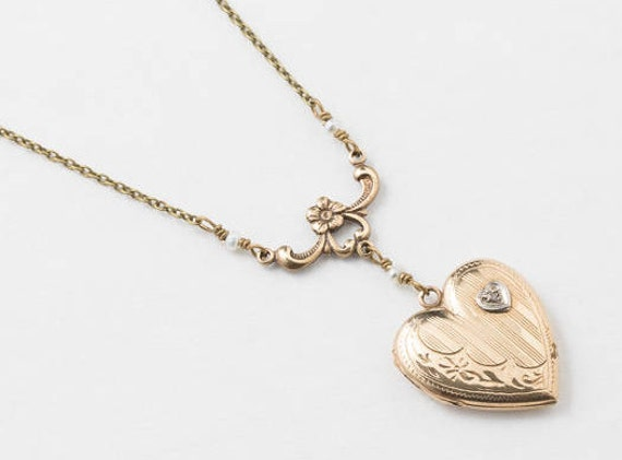 09285634f682 Heart Locket Locket Necklace in Gold Filled with Genuine