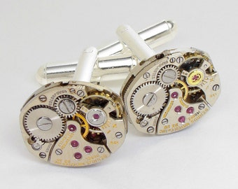 Steampunk Cufflinks with Vintage Watch Movements & Ruby Jewels, Grooms Gift, Silver Cuff Links, Wedding Jewelry By Steampunk Nation