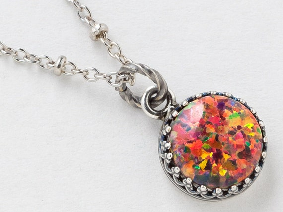 Silver opal necklace fire opal pendant mexican opal necklace aloadofball Gallery