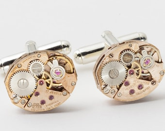 Steampunk Cufflinks, Rose Gold Cufflinks with Vintage Watch Movements & Ruby Jewels, Wedding or Anniversary, Grooms Gift, Silver Cuff Links