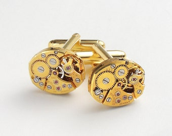Steampunk Cufflinks with Vintage Bulova Watch Movements ideal Wedding Anniversary Grooms Gift Gold Cuff Links Mens Jewelry, Steampunk Nation