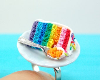 Rainbow Jewelry // Rainbow Cake Ring // Adjustable Ring // MADE TO ORDER