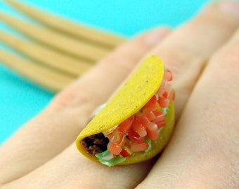 Food Ring // Taco Ring // MADE TO ORDER // Adjustable Ring // Monogrammed Option // Taco Tuesday