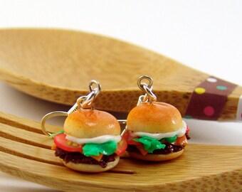 Burger Earrings SALE Cheeseburger Earrings Food Jewelry