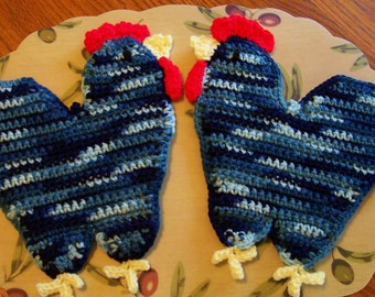 Roosters in Shaded Blues
