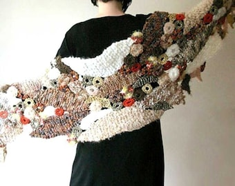 Falling Leaves - PDF pattern for a freeform style knit and crochet wrap