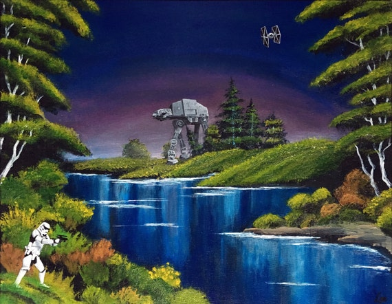 Invasion De Blue River Peinture Bob Ross Style Star Wars Etsy