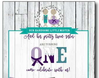 Handsome Mister and Pretty Sister Twin First Birthday Invitation - PDF file