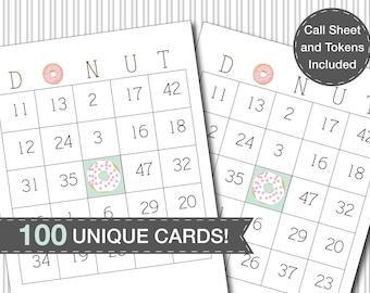 Donut Bingo Party Game 100 Unique Cards Printable