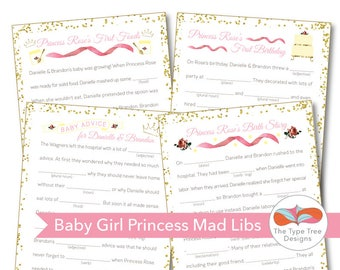 Baby Shower Mad Libs - Princess Theme - Set of 4 Unique Stories with key for back