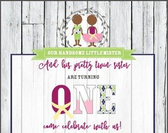 Handsome Mister and Pretty Sister Twin First Birthday Invitation - DIGITAL download