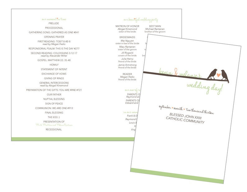 Birds Wedding Program Brochure - DIY Printable PDF File, customized with  your information and colors