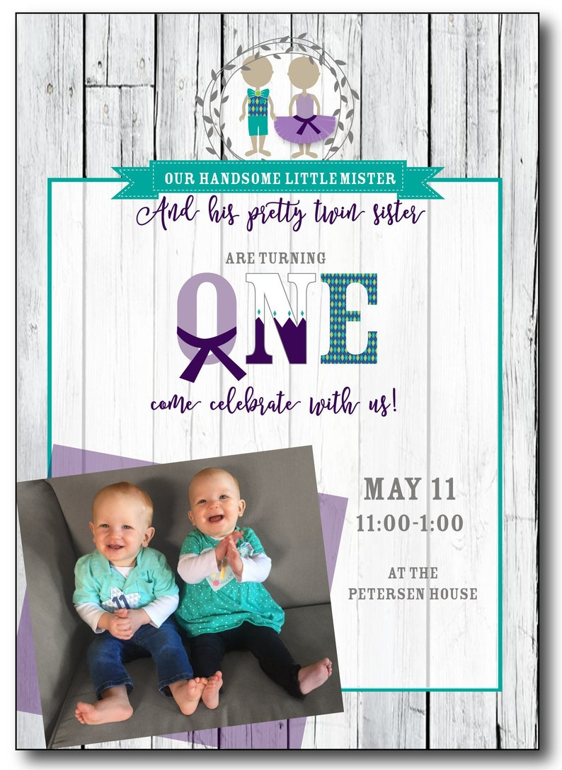 Handsome Mister and Pretty Sister Twin First Birthday image 1