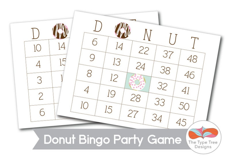 Donut Bingo Party Game Printable image 0