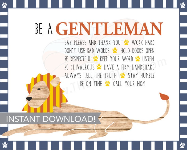 Be a Gentleman Printable for Boy Nursery or Toddler Room image 0