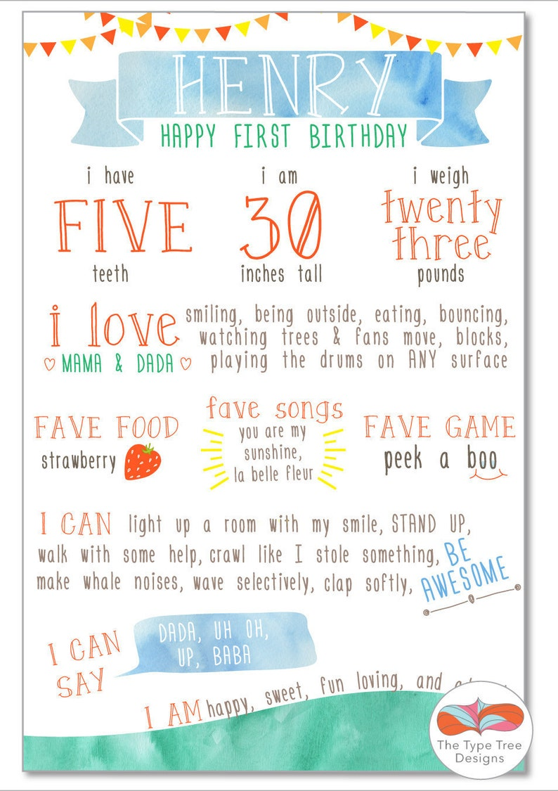 Sunshine Watercolor First Year Birthday Stat Page image 0