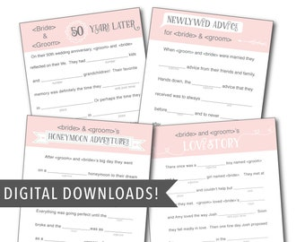 Custom Pink Wedding Mad Libs Template - FOUR Stories