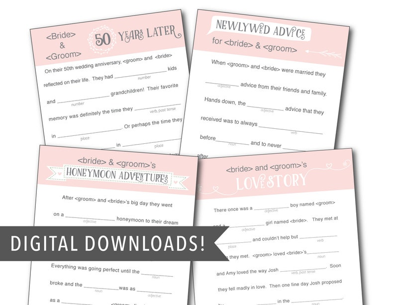 Custom Pink Wedding Mad Libs Template  FOUR Stories image 0