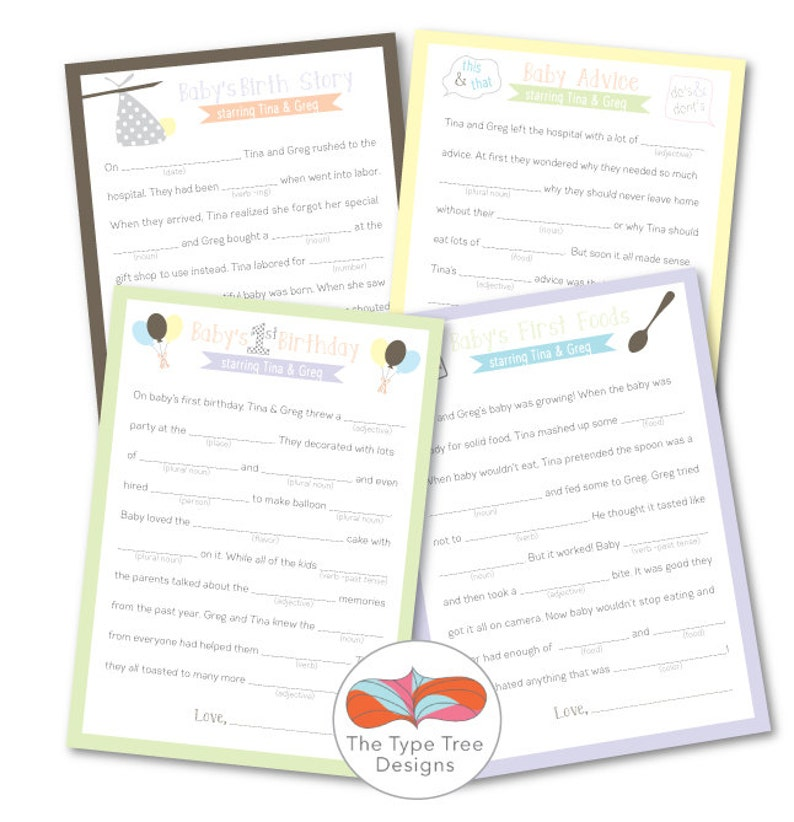 Baby Shower Mad Libs  Set of 4 Unique Stories with key for image 0