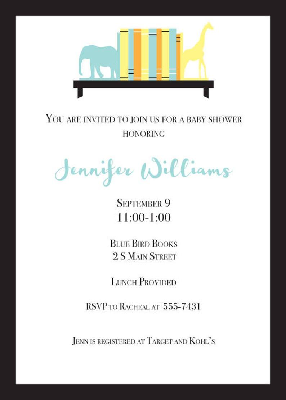 Bookshelf Baby Shower Invitation  Printable PDF or Email image 0