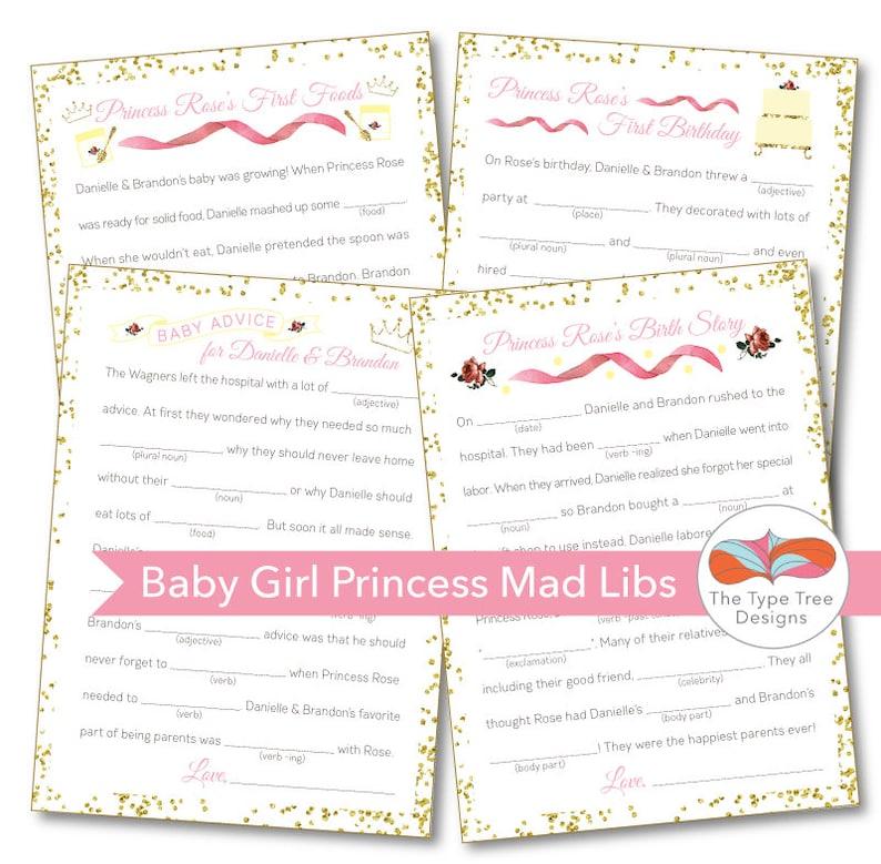 Baby Shower Mad Libs  Princess Theme  Set of 4 Unique image 0
