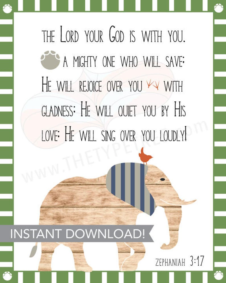 Scripture Animal Printable for Boy Nursery or Toddler Room image 0