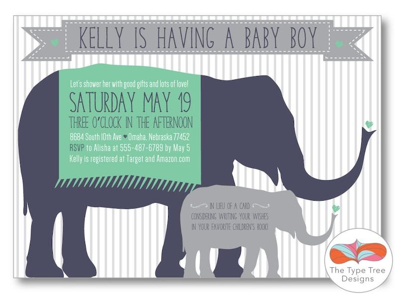 Elephant Boy Baby Shower Invitation  DIY Printable PDF or JPG image 0