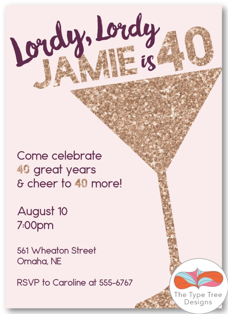 Champagne Glitter Fortieth Birthday Invitation  DIY Printable image 0