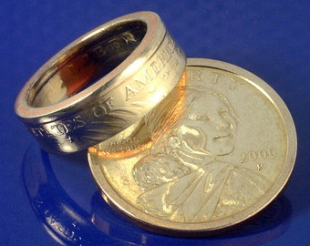 COIN RING JEWELRY (Sacagawea Dollar) (Reverse Orientation) (Choose The Ring Size You Want)