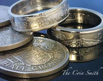 BRITISH Half Crown Coin Ring  - (( Queen Elizebath II - British Half Crown )) - (Choose The Year & Ring Size You Want)