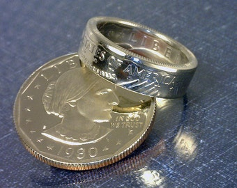 COIN RING - (Susan B Anthony Dollar) - (Reverse Orientation) - (Choose The Year and Ring Size You Want)