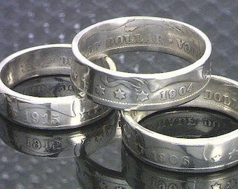 COIN RING JEWELRY (Barber Half Dollar)  - 90% Silver - (Choose The Year and Ring Size You Want)