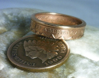 COIN RING --- ( Indian Head Penny) ---- (Pinky or Toe Ring) -- Over 100 Years Old -- (Choose The Year and Ring Size You Want)