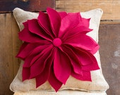 Items Similar To Christmas Poinsettia Burlap Pillow